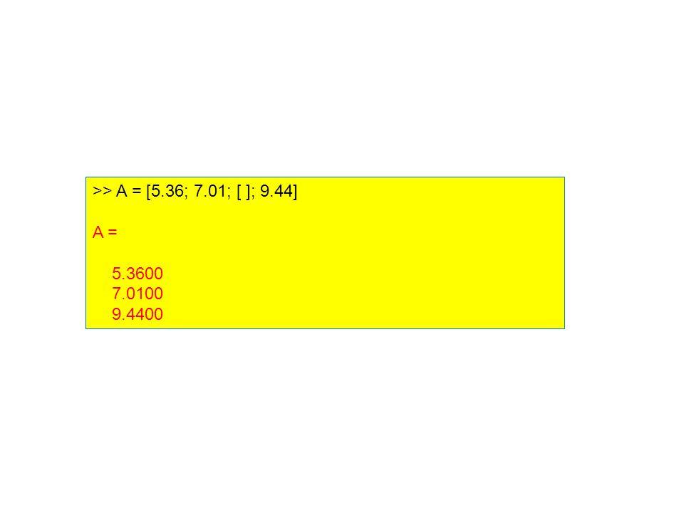 >> A = [5.36; 7.01; [ ]; 9.44] A = 5.3600 7.0100 9.4400