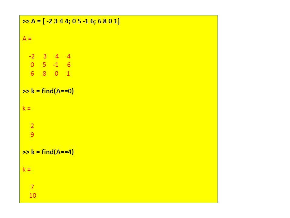 >> A = [ -2 3 4 4; 0 5 -1 6; 6 8 0 1] A = -2 3 4 4 0 5 -1 6 6 8 0 1 >> k = find(A==0) k = 2 9 >> k = find(A==4) k = 7 10