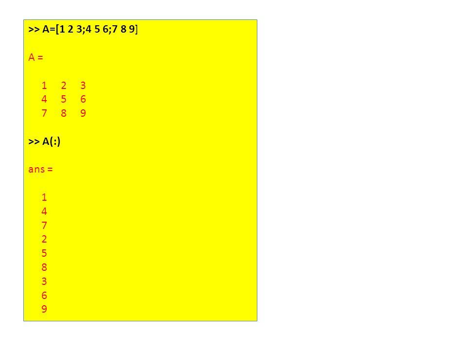 >> A=[1 2 3;4 5 6;7 8 9] A = 1 2 3 4 5 6 7 8 9 >> A(:) ans = 1 4 7 2 5 8 3 6 9