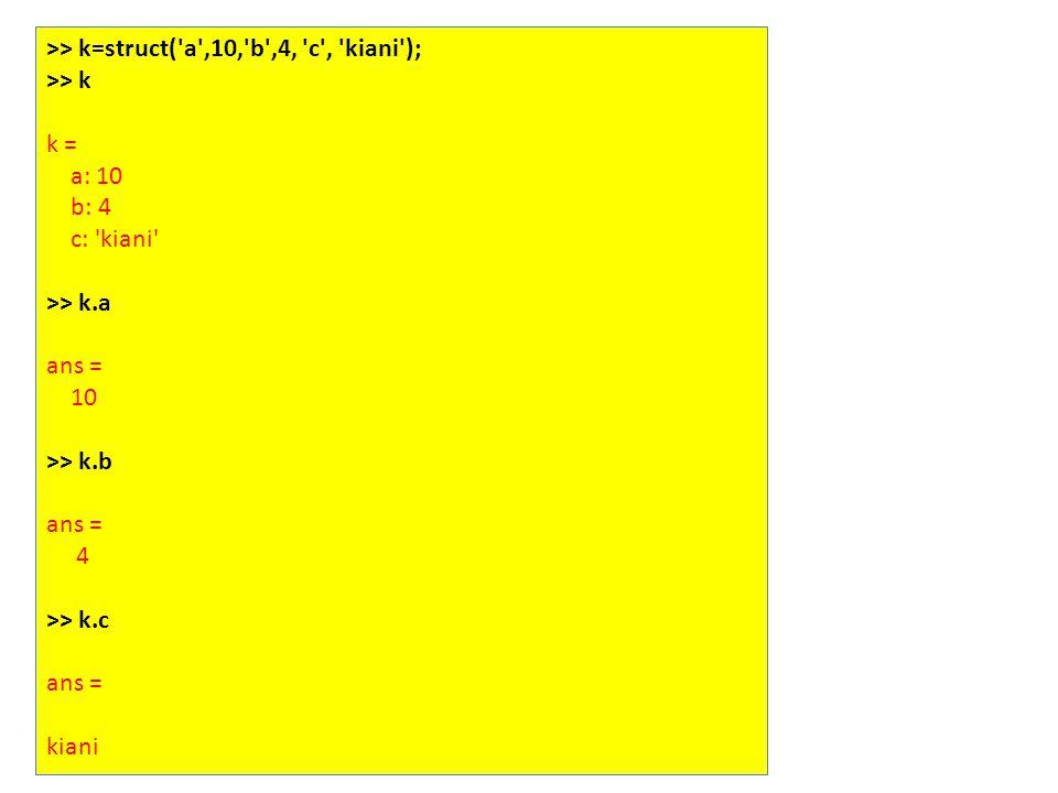 >> k=struct( a ,10, b ,4, c , kiani ); >> k k = a: 10 b: 4 c: kiani >> k.a ans = 10 >> k.b ans = 4 >> k.c ans = kiani