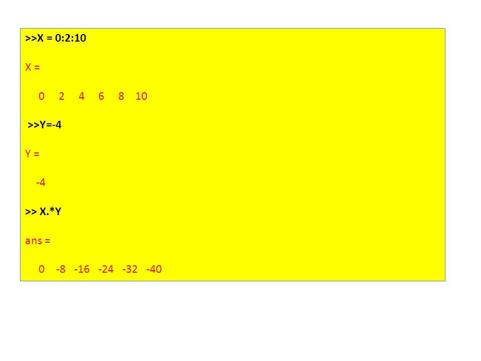 >>X = 0:2:10 X = 0 2 4 6 8 10 >>Y=-4 Y = -4 >> X.*Y ans = 0 -8 -16 -24 -32 -40