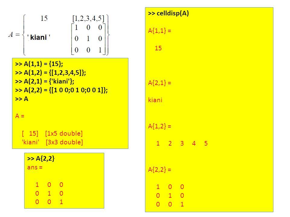 >> A(1,1) = {15}; >> A(1,2) = {[1,2,3,4,5]}; >> A(2,1) = { kiani }; >> A(2,2) = {[1 0 0;0 1 0;0 0 1]}; >> A A = [ 15] [1x5 double] kiani [3x3 double] >> celldisp(A) A{1,1} = 15 A{2,1} = kiani A{1,2} = 1 2 3 4 5 A{2,2} = 1 0 0 0 1 0 0 0 1 >> A{2,2} ans = 1 0 0 0 1 0 0 0 1