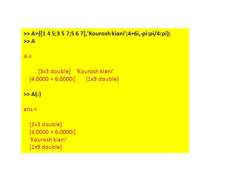 >> A={[1 4 5;3 5 7;5 6 7], Kourosh kiani ;4+6i,-pi:pi/4:pi}; >> A A = [3x3 double] Kourosh kiani [4.0000 + 6.0000i] [1x9 double] >> A(:) ans = [3x3 double] [4.0000 + 6.0000i] Kourosh kiani [1x9 double]