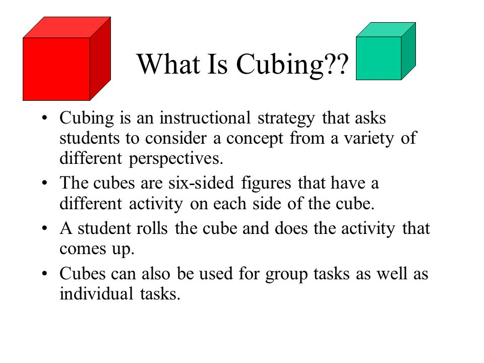 What Is Cubing?? Cubing is an instructional strategy that asks students to consider a concept from a variety of different perspectives. The cubes are