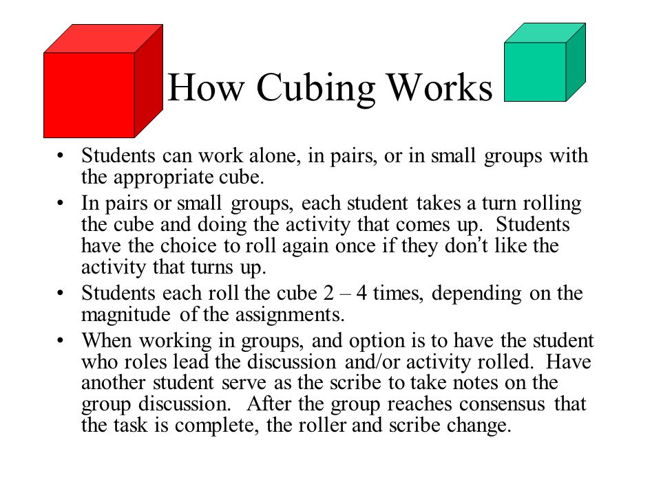 How Cubing Works Students can work alone, in pairs, or in small groups with the appropriate cube. In pairs or small groups, each student takes a turn