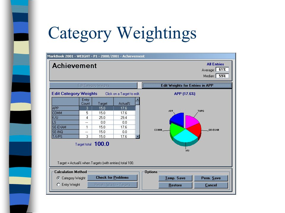 """""""Weighty Matters"""" Discussion n Category, Entry or Equal Weight? n Course Weightings?  What are your course components?  How do you weight course com"""