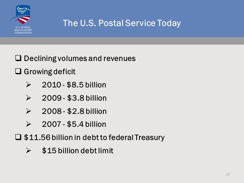 The U.S. Postal Service Today  Declining volumes and revenues  Growing deficit  2010 - $8.5 billion  2009 - $3.8 billion  2008 - $2.8 billion  2