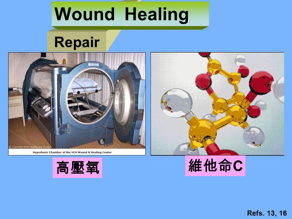 Repair Wound Healing 維他命 C Refs. 13, 16 高壓氧