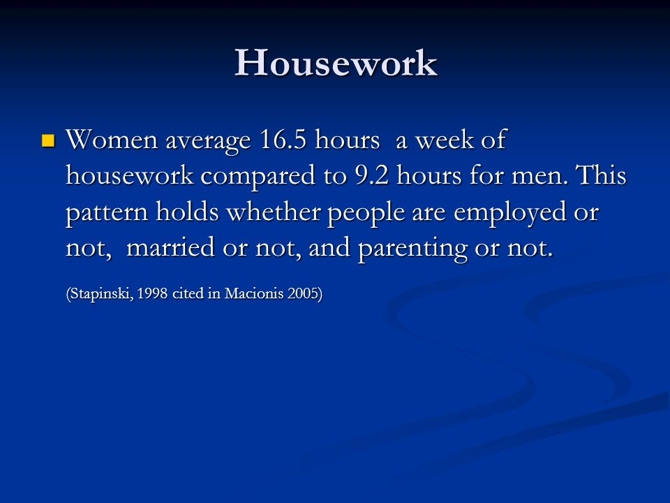 Housework Women average 16.5 hours a week of housework compared to 9.2 hours for men.