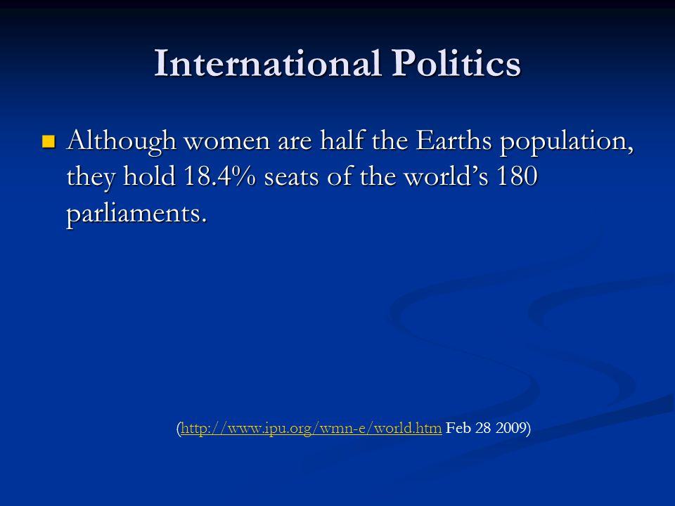 International Politics Although women are half the Earths population, they hold 18.4% seats of the world's 180 parliaments.