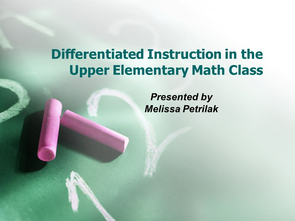 Applying Differentiation Instruction