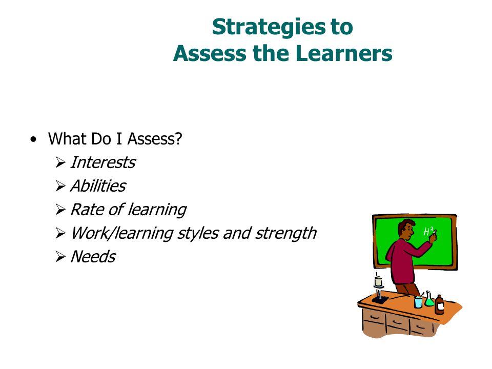 Strategies to Assess the Learners What Do I Assess.