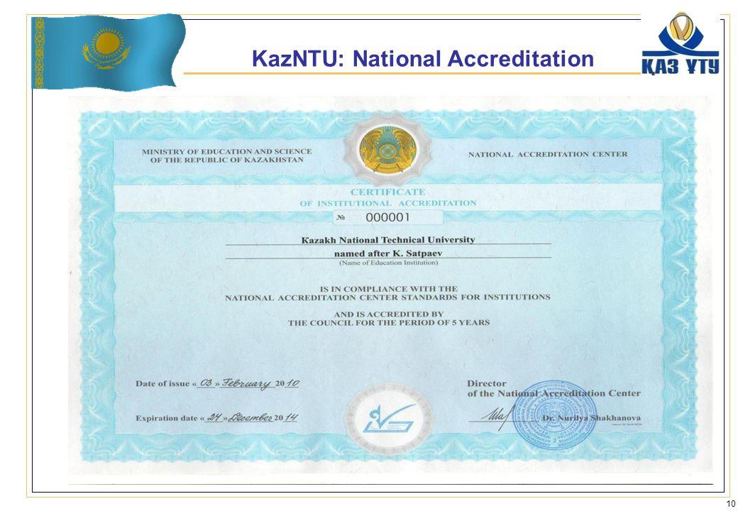 KazNTU: National Accreditation 10