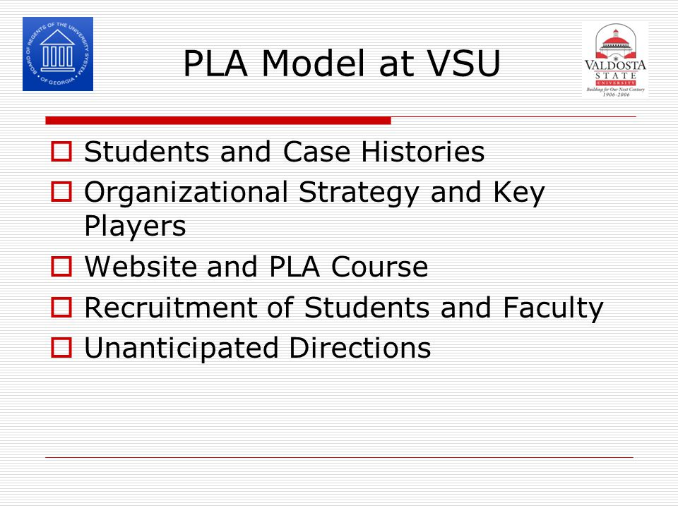PLA Model at VSU  Students and Case Histories  Organizational Strategy and Key Players  Website and PLA Course  Recruitment of Students and Faculty  Unanticipated Directions