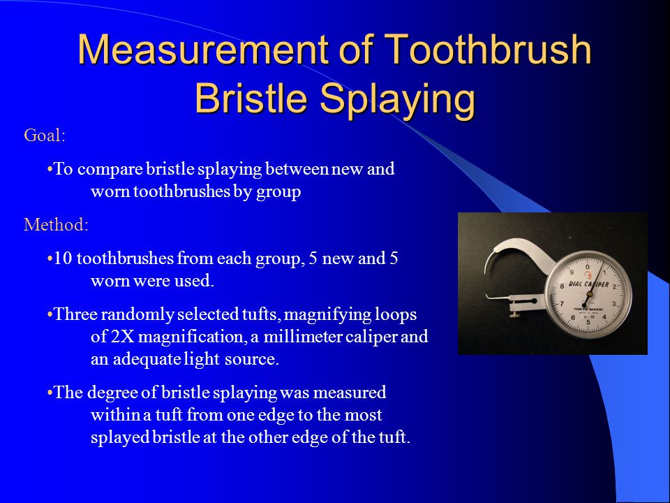 Measurement of Toothbrush Bristle Splaying Goal: To compare bristle splaying between new and worn toothbrushes by group Method: 10 toothbrushes from each group, 5 new and 5 worn were used.