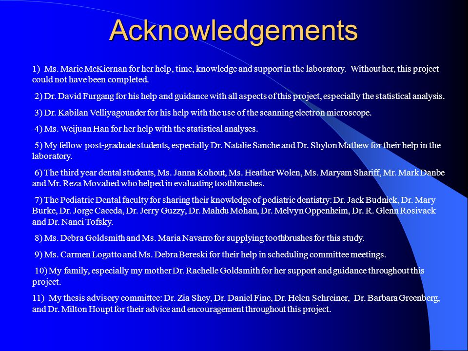 Acknowledgements 1) Ms.