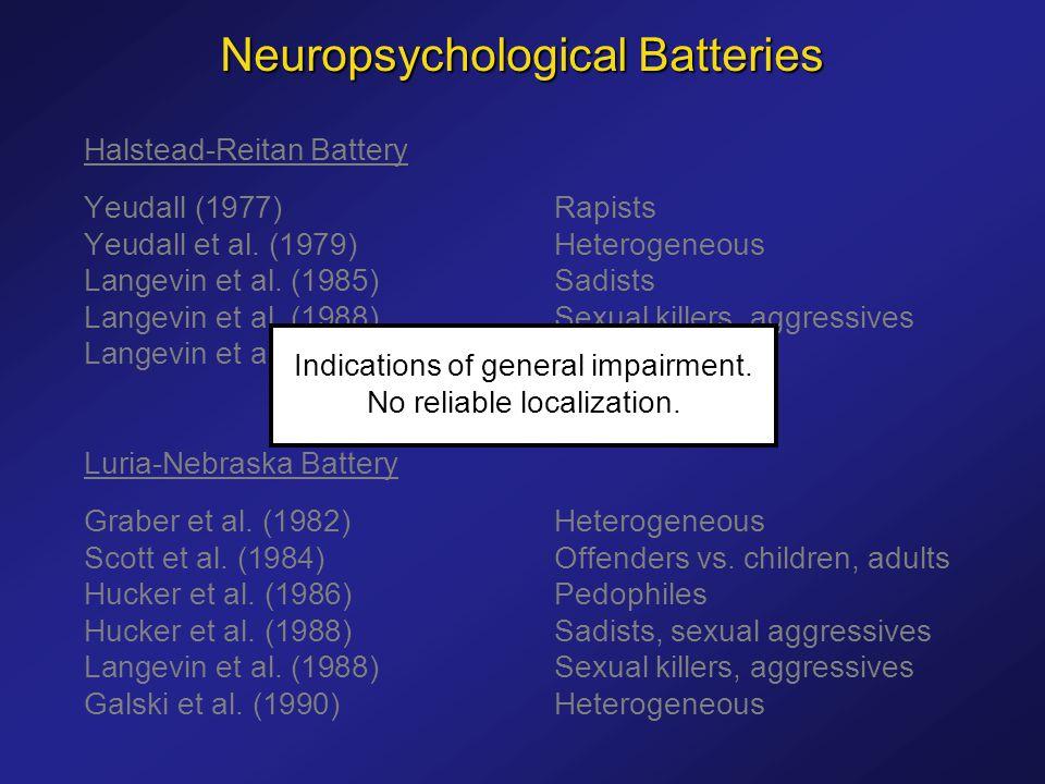 Halstead-Reitan Battery Yeudall (1977)Rapists Yeudall et al.