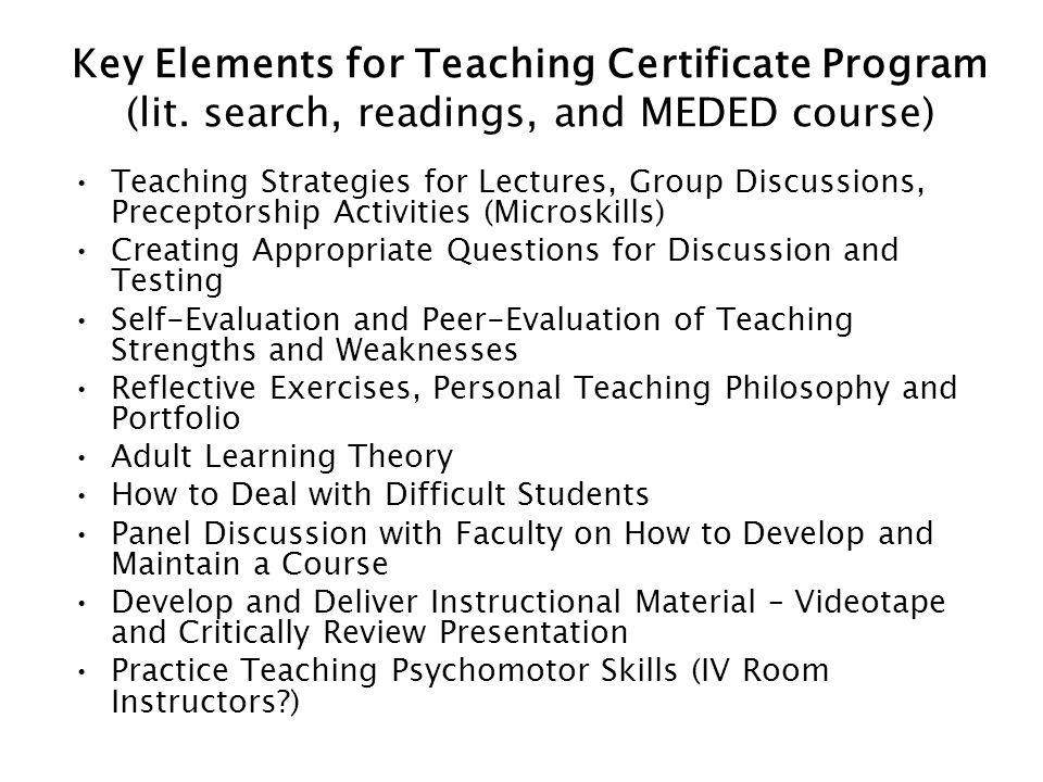 Key Elements for Teaching Certificate Program (lit.