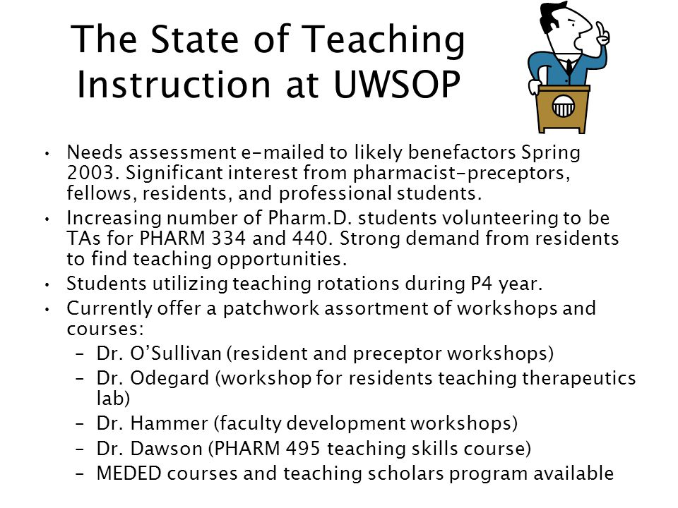 The State of Teaching Instruction at UWSOP Needs assessment e-mailed to likely benefactors Spring 2003.