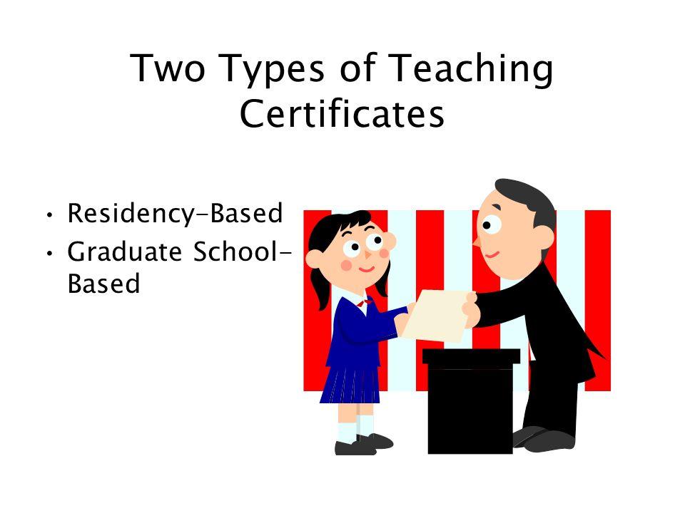 Two Types of Teaching Certificates Residency-Based Graduate School- Based