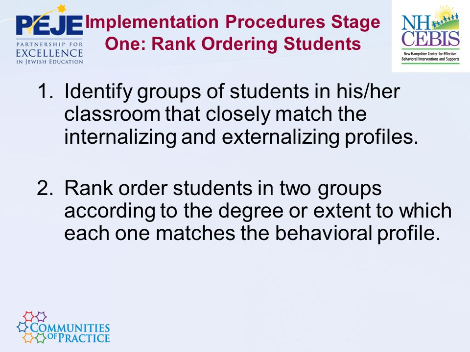 Implementation Procedures Stage One: Rank Ordering Students 1.Identify groups of students in his/her classroom that closely match the internalizing and externalizing profiles.