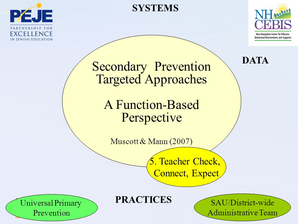 Secondary Prevention Targeted Approaches A Function-Based Perspective Muscott & Mann (2007) DATA SYSTEMS PRACTICES 5.