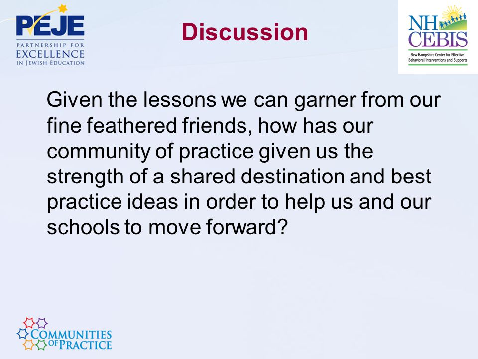Discussion Given the lessons we can garner from our fine feathered friends, how has our community of practice given us the strength of a shared destination and best practice ideas in order to help us and our schools to move forward