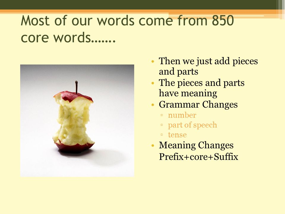 Most of our words come from 850 core words…….