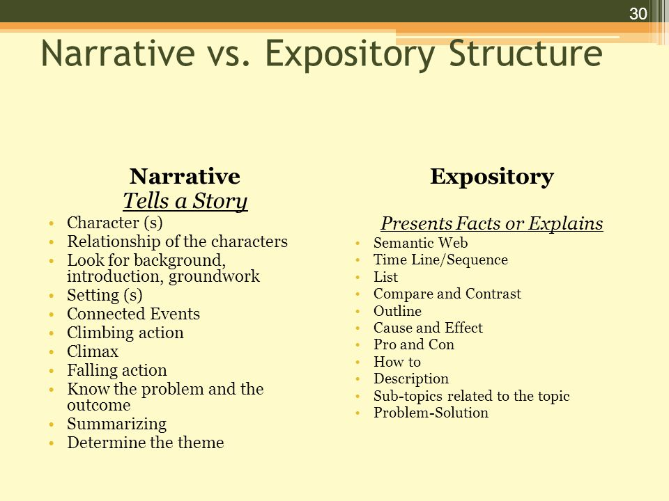 30 Narrative vs.