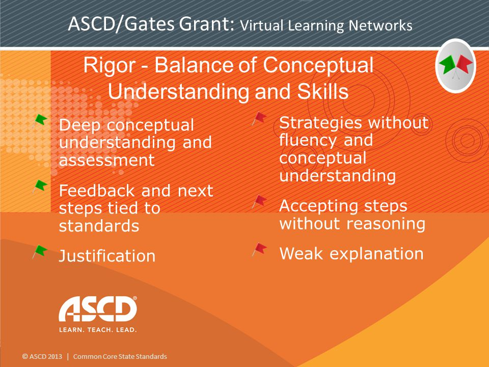 © ASCD 2013 | Common Core State Standards ASCD/Gates Grant: Virtual Learning Networks Rigor - Balance of Conceptual Understanding and Skills Deep conceptual understanding and assessment Feedback and next steps tied to standards Justification Strategies without fluency and conceptual understanding Accepting steps without reasoning Weak explanation