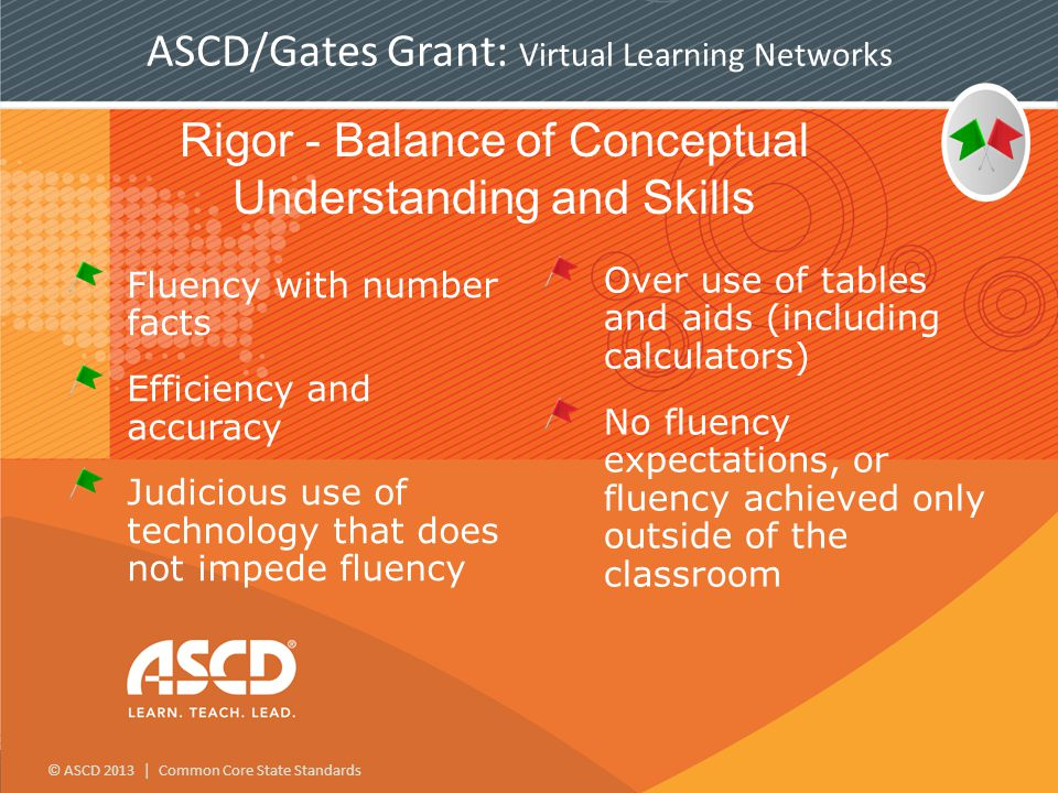 © ASCD 2013 | Common Core State Standards ASCD/Gates Grant: Virtual Learning Networks Rigor - Balance of Conceptual Understanding and Skills Fluency with number facts Efficiency and accuracy Judicious use of technology that does not impede fluency Over use of tables and aids (including calculators) No fluency expectations, or fluency achieved only outside of the classroom