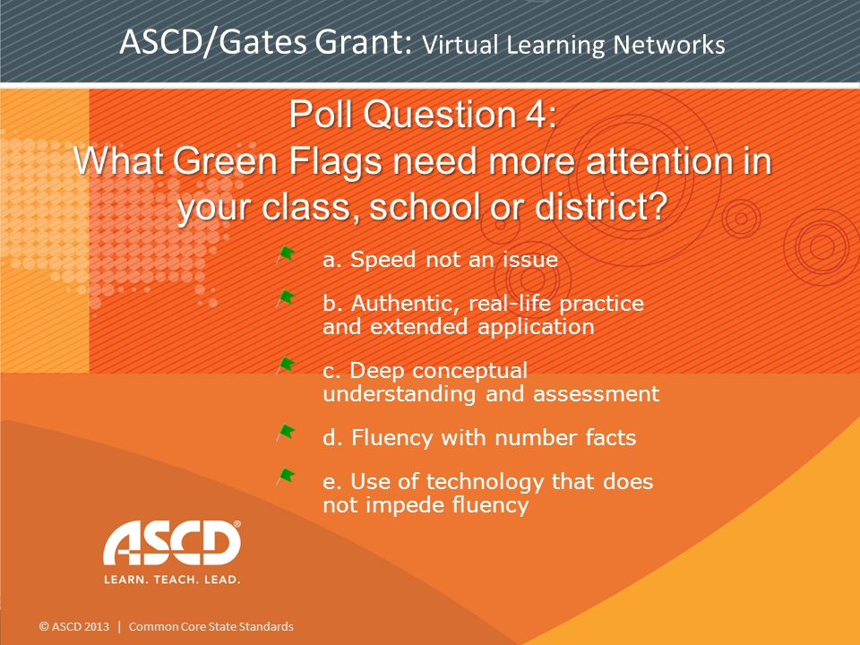© ASCD 2013 | Common Core State Standards Poll Question 4: What Green Flags need more attention in your class, school or district.