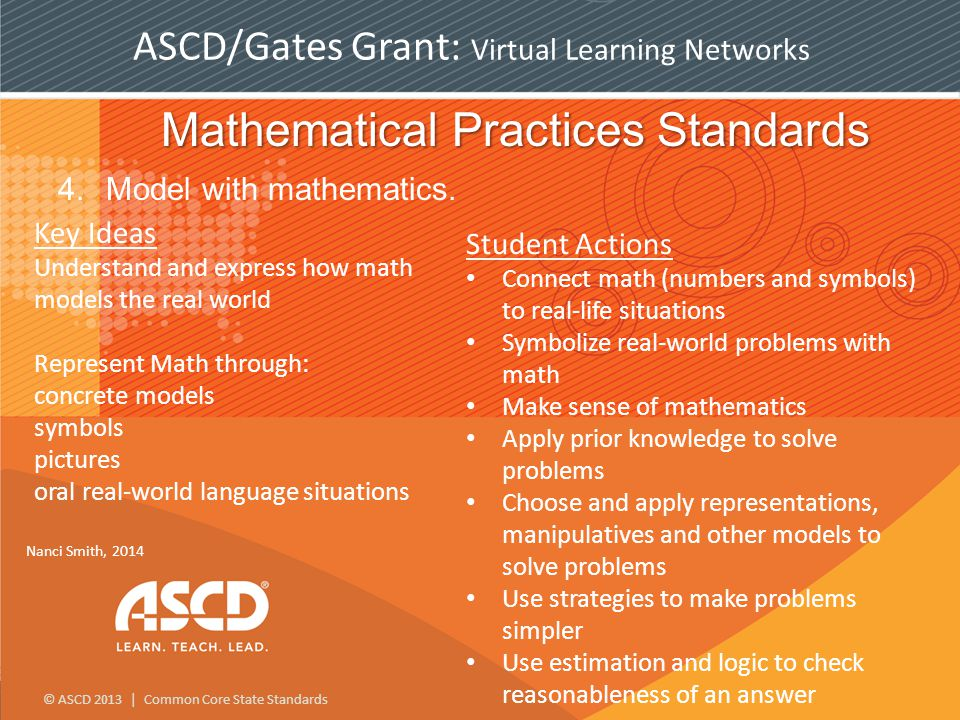 © ASCD 2013 | Common Core State Standards ASCD/Gates Grant: Virtual Learning Networks Mathematical Practices Standards 4.Model with mathematics.