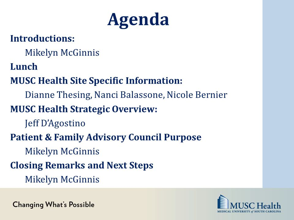 Agenda Introductions: Mikelyn McGinnis Lunch MUSC Health Site Specific Information: Dianne Thesing, Nanci Balassone, Nicole Bernier MUSC Health Strate