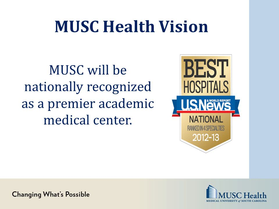 MUSC Health Vision MUSC will be nationally recognized as a premier academic medical center.