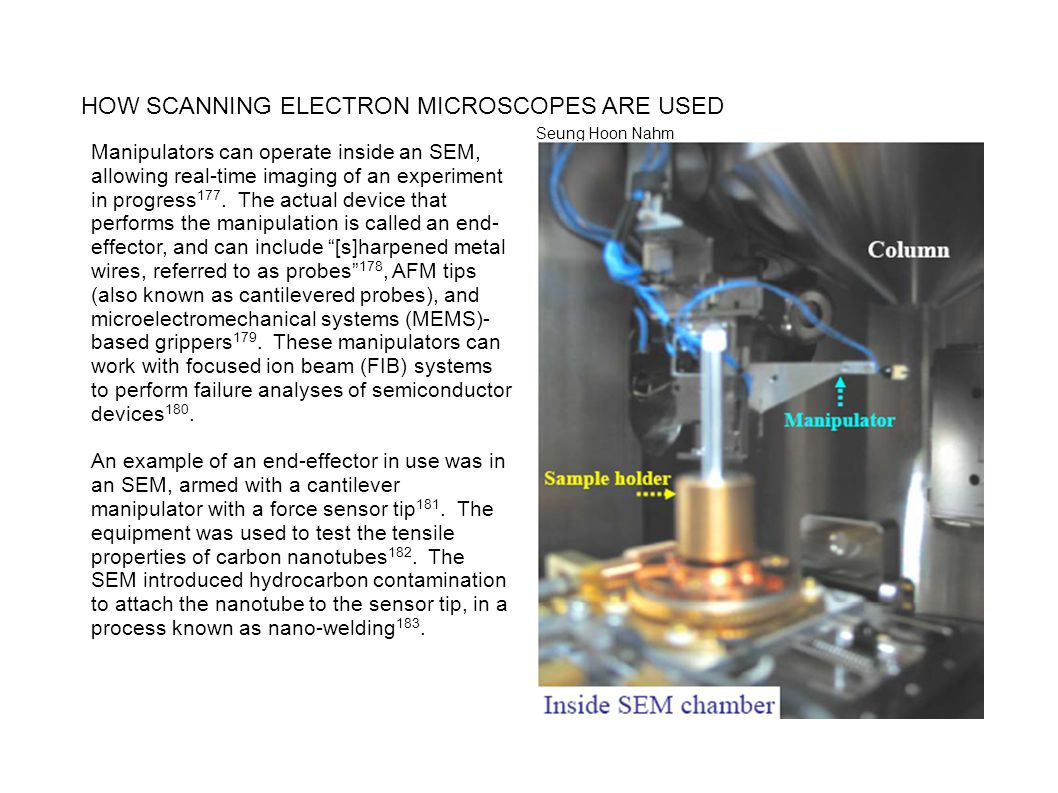 HOW SCANNING ELECTRON MICROSCOPES ARE USED Manipulators can operate inside an SEM, allowing real-time imaging of an experiment in progress 177. The ac