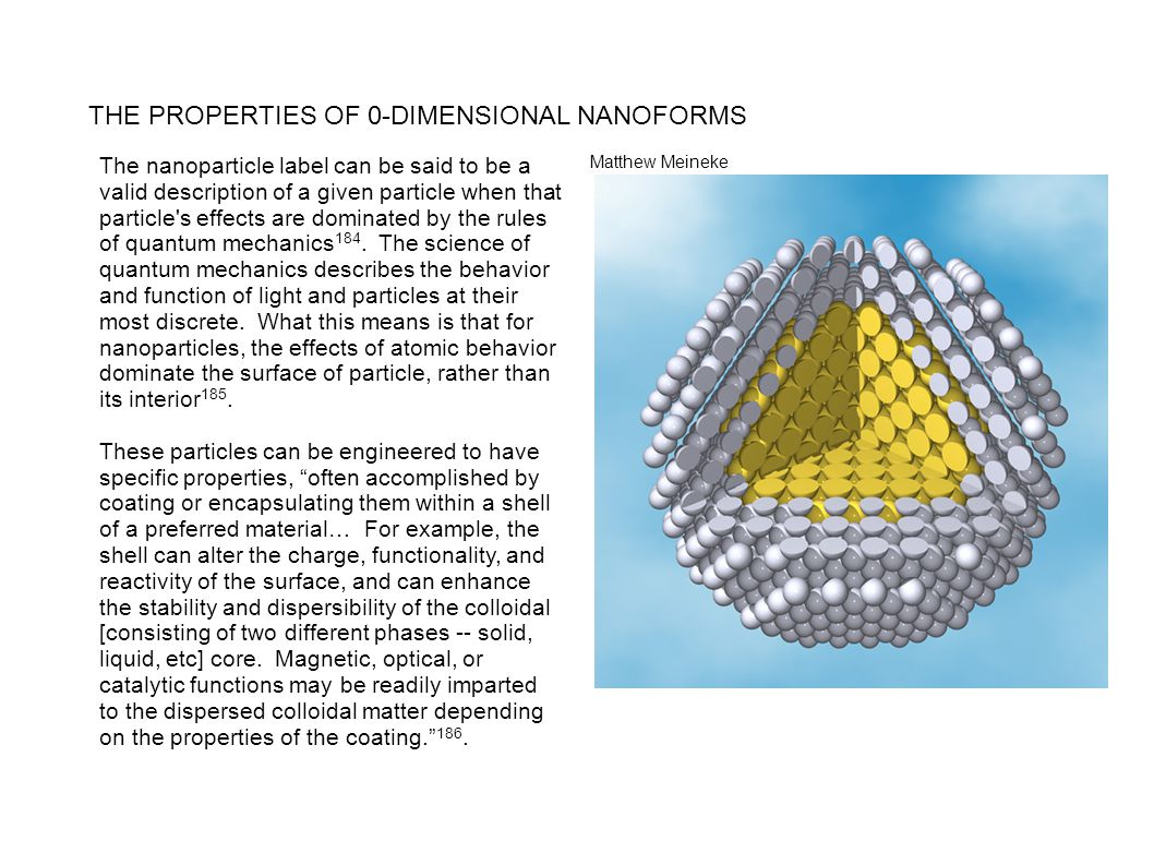 THE PROPERTIES OF 0-DIMENSIONAL NANOFORMS The nanoparticle label can be said to be a valid description of a given particle when that particle's effect