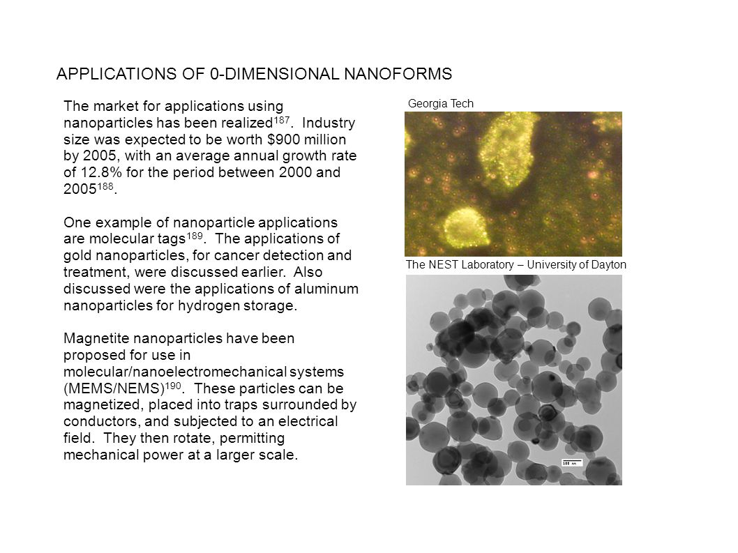 APPLICATIONS OF 0-DIMENSIONAL NANOFORMS The market for applications using nanoparticles has been realized 187. Industry size was expected to be worth