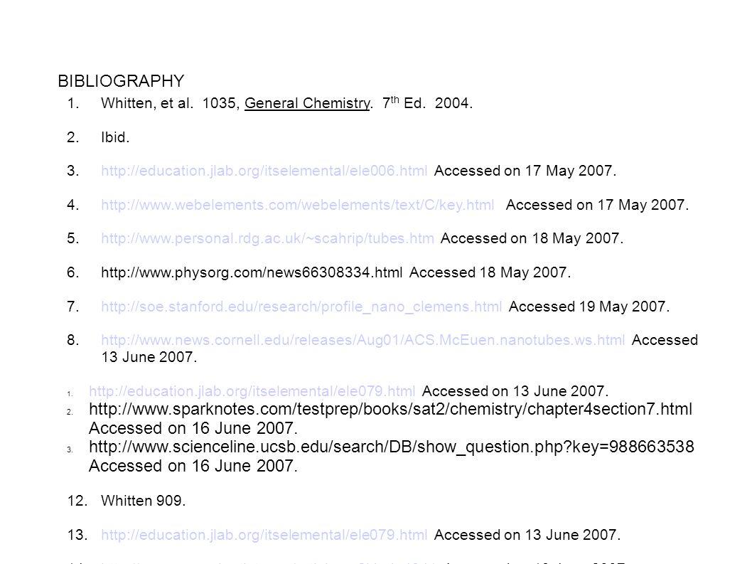 BIBLIOGRAPHY 1. Whitten, et al. 1035, General Chemistry. 7 th Ed. 2004. 2. Ibid. 3. http://education.jlab.org/itselemental/ele006.html Accessed on 17