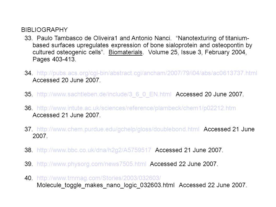 "BIBLIOGRAPHY 33. Paulo Tambasco de Oliveira1 and Antonio Nanci. ""Nanotexturing of titanium- based surfaces upregulates expression of bone sialoprotein"