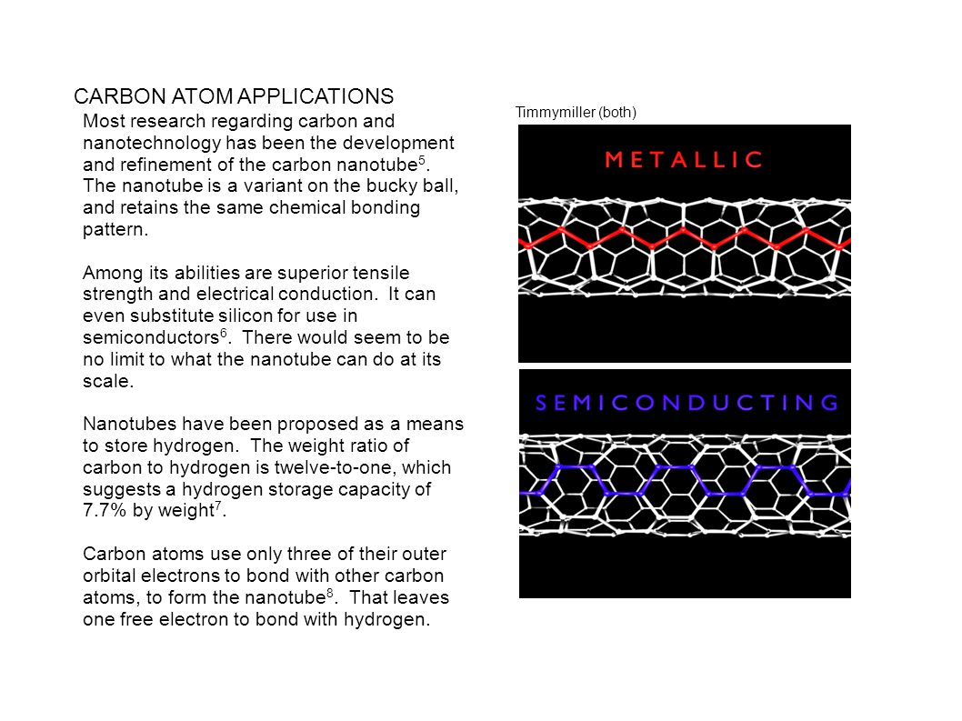 CARBON ATOM APPLICATIONS Most research regarding carbon and nanotechnology has been the development and refinement of the carbon nanotube 5. The nanot