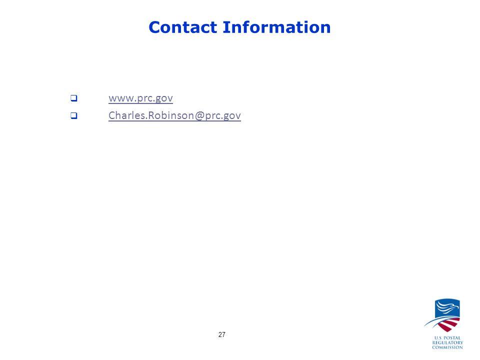 27 Contact Information  www.prc.gov www.prc.gov  Charles.Robinson@prc.gov Charles.Robinson@prc.gov