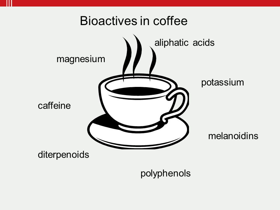 caffeine magnesium potassium polyphenols aliphatic acids diterpenoids melanoidins Bioactives in coffee