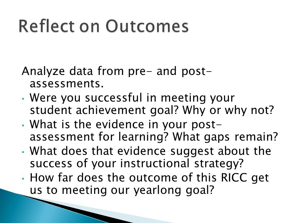 Analyze data from pre- and post- assessments. Were you successful in meeting your student achievement goal? Why or why not? What is the evidence in yo