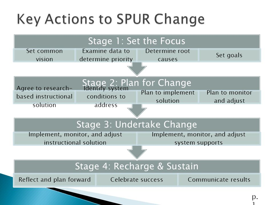 Stage 4: Recharge & Sustain Reflect and plan forwardCelebrate successCommunicate results Stage 3: Undertake Change Implement, monitor, and adjust inst