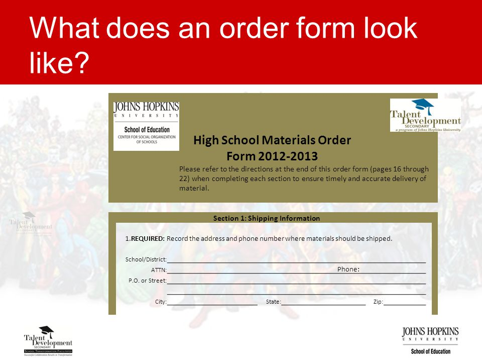 What does an order form look like.
