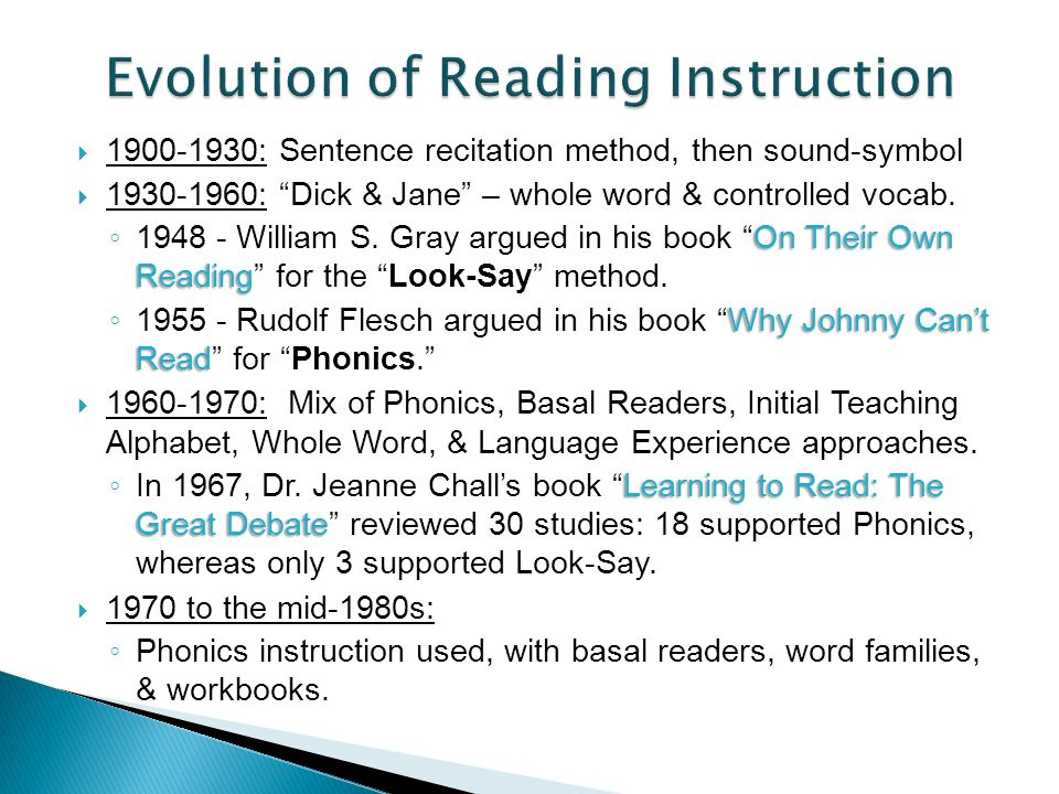 Reading methods developed in universities and schools primarily by teachers for all students Reading methods developed in universities, hospitals, and private clinics by doctors, psychologists, & teachers for disabled readers Development guided more by trial & error, anecdote, and philosophy Development guided more by theories of brain function & scientific method Regular Education Special Education More recently Merging