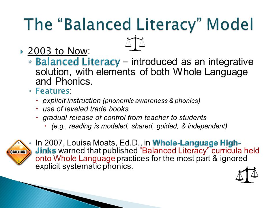  1998-2000 (Research Reviews): ◦ US National Research Council & then the ◦ US National Reading Panel recommended 5 essential components of reading instruction: 1.