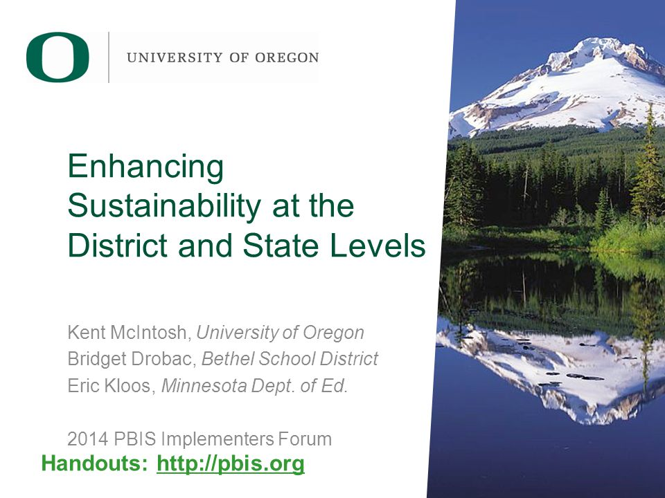 Enhancing Sustainability at the District and State Levels Kent McIntosh, University of Oregon Bridget Drobac, Bethel School District Eric Kloos, Minnesota Dept.