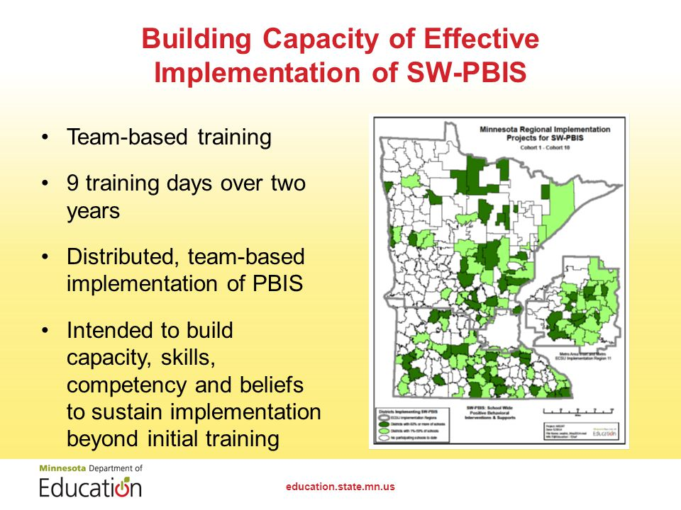Building Capacity of Effective Implementation of SW-PBIS Team-based training 9 training days over two years Distributed, team-based implementation of PBIS Intended to build capacity, skills, competency and beliefs to sustain implementation beyond initial training education.state.mn.us